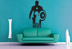 Captain American Silhoutte  Wall Vinyl  Large by WallsOfText, $22.95