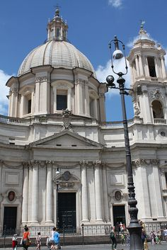 Sant´Agnese in Agone, Piazza Navona. Girolamo Rainaldi (1570 - 1655), Carlo Rainaldi (1611 - 1691), Francesco Borromini (1599 - 1667).