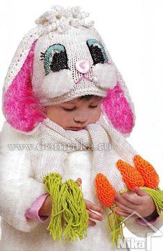 Детская вязаная шапочка и шарф