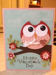 Valentine Owl - I like the tree and dimensional flowers