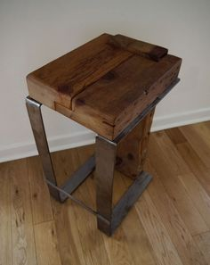 Reclaimed Wood Bar Stool. Handmade Modern Rustic Furniture