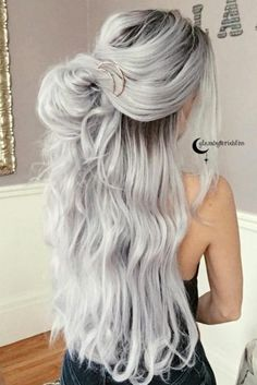 Gray Lace Frontal Wigs grey wigs with bangs – baiwangshop Grey Hair Wig, Lace Hair, Ombre Hair Color, Cool Hair Color, White Ombre Hair, Long White Hair, Silver Blonde Hair, White Blonde, Gray Hair Highlights
