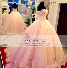 Pink Lace Quinceanera Dresses Sweet 16 Tulle Prom Birthday Evening Ball Gown