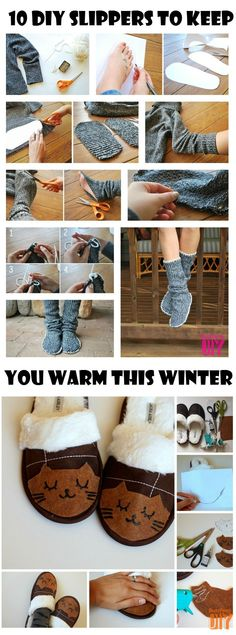 10 DIY Slippers to Keep You Warm This Winter | http://www.iluvdiy.com/10-diy-slippers-to-keep-you-warm-this-winter/ Keeping your feet warm this winter season is a requirement so why not check out this very warm and fuzzy round up of 10 DIY Slippers to Keep You Warm This Winter. Design your own cute and cuddly slippers this winter season and make sure you make some for everyone in your home :).