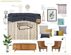A Textured Traditional Mid Century Living Room - Emily Henderson