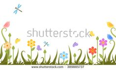 flowers with butterflies on transparent background. Vector illustration. Summer floral banner with green grass, flowers and butterflies