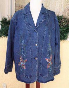 CJ Banks Boho Denim Jean Jacket 2X Blue/Multi Floral Embellished Stretch Plus #CJBanks #Jacket