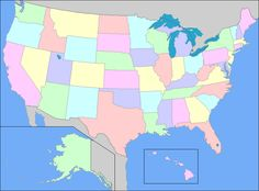 Map of United States, United States Map, states, capitals and oceans