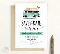 VW Kombi Save The Date - Vintage VW Bus save the date, surf save the date, VW Van, beach save the d Vintage Save The Dates, Wedding Save The Dates, Save The Date Cards, Beach Wedding Invitations, Wedding Planner, Surfer Wedding, Wedding Beach, Trendy Wedding, Deco Surf