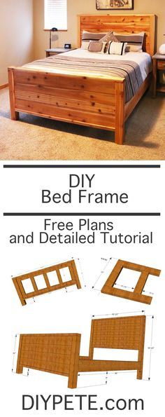 DIY wood bed frame from DIYPete