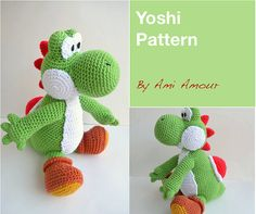 This is a large sized Yoshi pattern thats very cool to crochet. Yoshi is the loveable critter from Mario Bros game. He carries Mario on his back. He can jump really high and likes to eat apples. This is a listing for the PDF PATTERN only which is a set of instructions that tells you how to