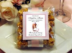 First Holy Communion Confirmation Caramel Corn Favors Bible Cross. $2.99, via Etsy.