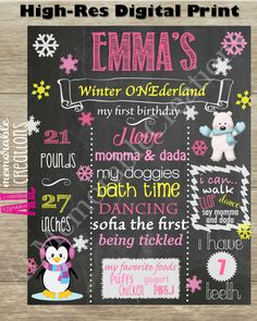 Winter ONEderland Chalkboard/Girl's First Birthday Chalkboard/First Birthday Poster/Baby's 1st Birthday/Personalized Milestones/Custom Stats by ALMemorableCreations on Etsy