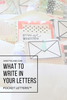 What To Write in Your Pocket Letter - by Pocket Letters™ Creator, Janette Lane. Pen Pal Letters, Pocket Letters, Love Letters, Pocket Pal, Pocket Cards, Snail Mail Pen Pals, What To Write About, Atc Cards, Letter Writing