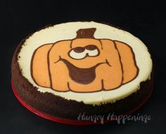 ***** NOTE: has a good idea (for cake or cupcakes add the food puree to frosting instead. Play with it until you get the desired consistency) for  people that have problems with artaficial color's. - Decorated Pumpkin Cheesecake | HungryHappenings.com