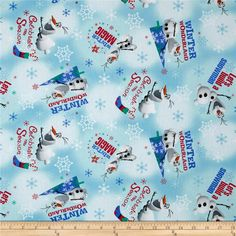 Christmas Disney Frozen Olaf Winter Wonderland Blue from @fabricdotcom  Designed by Disney and licensed to Springs Creative Products, this cotton print fabric is perfect for quilting, apparel and home decor accents. Colors include black, brown, navy, red, orange, grey and various shades of blue and green. Due to licensing restrictions, this item can only be shipped to USA, Puerto Rico, and Canada.
