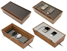 Three Decor Friendly Charging Stations The en&is UFFO charging station is proof tech accessories do not necessarily have to detract from y Diy Charger Station, Usb Charging Station, Dyi, Diy Rv, Cable Organizer, Co Working, Home Office Furniture, House Furniture, Furniture Design