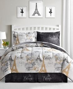 Fairfield Square Collection Paris Gold Reversible Queen Comforter Set Bed & Bath - Bed in a Bag - Macy's Full Comforter Sets, King Comforter, Bedding Sets, Queen Bedding, Bedroom Comforters, Paris Room Decor, Paris Rooms, Paris Themed Rooms, Paris Themed Bedroom Decor