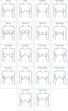 How To Correctly Measure Your Breasts and Fit A Bra --- You need to realize that breasts have different shapes, and these shapes will effect how your breasts will look in different bras (and of course how you are fitted). -- Maybe this chart from Invest In Your Chest shows a better diagram of how breasts can come in many different shapes (these are just a few)