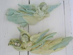 Set of vintage, wall mounted, resin female, angels, flying wings, shabby painted, distressed religious decor by ChippedPaints on Etsy Cherubs, Wall Mount, Resin, Angels, Wings, Shabby, Female, Painting, Etsy