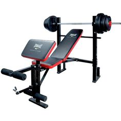 Everlast Weight Bench With 36Kg Vinyl Barbell Set ($185) ❤ liked on Polyvore featuring home, furniture, benches, storage bench, black bench, marquetry furniture, adjustable bench and vinyl furniture