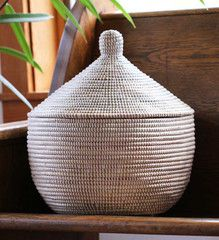 African Storage Basket with Domed Lid - Basket Handmade in Africa - Swahili Modern - 1