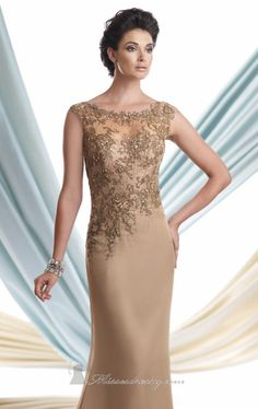 Look sophisticated in this Mon Cheri Montage 113920. The beaded applique embellishments, see-through detail and scoop neckline make this evening gown remarkable. This sleeveless chiffon ensemble features a straight floor-length skirt with train and it comes with a shawl. Measured from hollow to hem, it has a length of 58 inches. Note: Dry Clean Only.