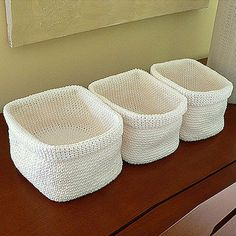 Crochet BasketsThis crochet pattern / tutorial is available for free...   Full Post: Crochet Baskets