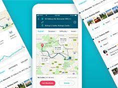 Biking Routes - UI designed by Laura Coman. Connect with them on Dribbble;