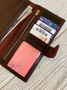 3e00c265ef08 Wallet for women Leather wallet woman Personalized wallet Zipper wallet  Wallet for coins Coin wallet Brown wallet Long leather wallet Phone