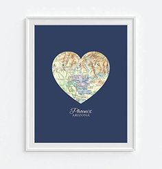 Phoenix Arizona Vintage Heart Map Art Print, UNFRAMED, Customized Colors, Wedding gift, Christmas gift, Engagement Anniversary Valentines day Housewarming gift, ALL SIZES -- $8.99