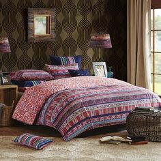96 x 110''  The Katina bedding collection embodies a bohemian look that creates a bold statement in your room. The duvet cover features an array of abstract and floral prints in vibrant colors.