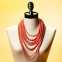 Multi-Layer Coral Beaded Necklace by Geranium from OpenSky Styling Closet on OpenSky