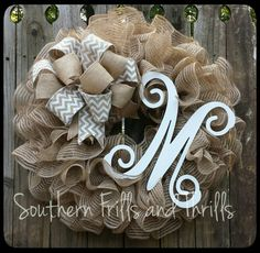 Check out this item in my Etsy shop https://www.etsy.com/listing/238896858/burlap-monogram-wreath-monogram-wreath