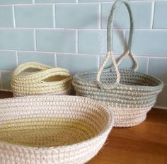 Collection of different crochet and rope baskets, designed and made by me