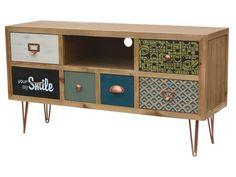 Specyfikacja produktu: Symbol: F008 Wymiary: 110 x 34 x 59 Kolekcja: Portofino Materiał: Drewno jodły, metalowe uchwyty i nogi Kolor: Surowe jasne drewno, front szuflad zielony, niebieski, czarny, bia ...