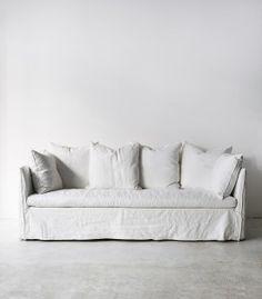 sofas like this for garden room, linen with slip covers....Vittoria Slip Cover Sofa / White
