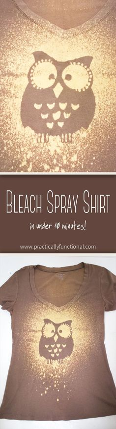 Learn how to transform a plain shirt with a stencil, a spray bottle, and some bleach! Includes washing and drying instructions!