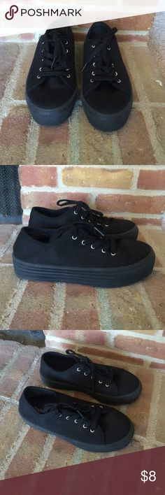 Black platform sneakers These sneakers have only been worn twice. In great condition. Size 8. Charlotte Russe Shoes Sneakers