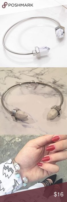 Minimalist Marble Stone Bracelet Cuff Bangle Brand New! Diameter: 6cmX5.5cm. Silver bracelet with white marble stone. Simple chic.       ⭐️20% of all earnings are donated to the A21 campaign that works toward ending human trafficking in the 21st century⭐️  ❣️27 MILLION slaves worldwide- Most in history! 1-2% of victims are ever rescued ❣️The average age of a trafficking victim is 12 YRS OLD! Every [1] Matters Urban Outfitters Jewelry Bracelets