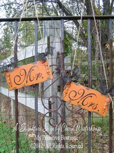 Mr And Mrs Chair Hangers, Halloween Wedding, Shabby Chic Wedding Signs, Cottage…