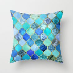 Cobalt+Blue,+Aqua+&+Gold+Decorative+Moroccan+Tile+Pattern+Throw+Pillow+by+Micklyn+-+$20.00