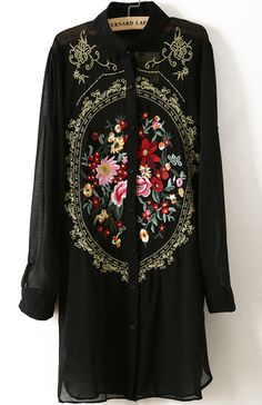 Black Long Sleeve Rose Embroidered Chiffon Blouse pictures