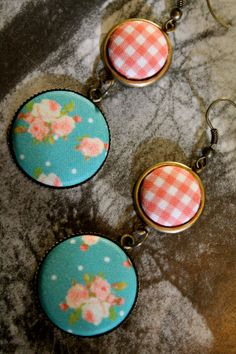 Gingham Fabric Button Earrings Picnic Perfect by ButtonBizarro, $9.00