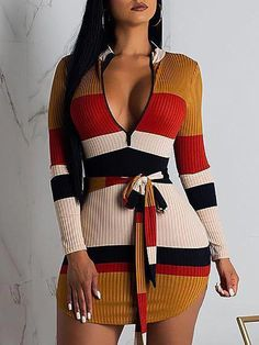 Contrast Stripes Deep V Belted Mini Dress, Source by shoppingnew clothes dresses Womens Fashion Online, Latest Fashion For Women, Ladies Fashion, Fashion 2018, Women's Fashion Dresses, Sexy Dresses, Mini Dresses, Prom Dresses, Body Con Dress