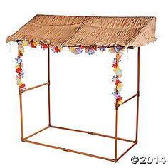 Tabletop Luau Hut - easily make this.  PVC pipe, spray paint , grass skirts, flowers