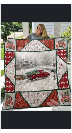 Scrap Quilt Patterns, Christmas Quilt Patterns, Hanging Quilts, Quilted Wall Hangings, Big Block Quilts, Small Quilts, Fabric Panel Quilts, Christmas Red Truck, Quilt Stitching