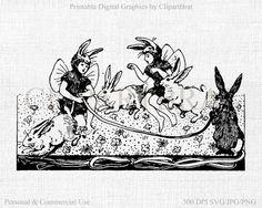 VINTAGE RABBIT FAIRY Clipart Digital Stamp Antique by ClipArtBrat