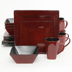 Hard Square Dinnerware Set Red  sc 1 st  Pinterest & Soho Lounge Square 16-Piece Dinnerware Set http://www.walmart.com/ip ...