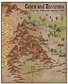 ProFantasy Community Forum - Cobre & Environs (more Deadlands) Fantasy Map, Dark Fantasy, Desert Map, Town Drawing, Westerns, Game Level Design, Old Western Towns, Forest Map, Old West Town